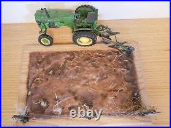 1/16 SpecCast John Deere M Tractor with Bottom Plow Weathered With Base
