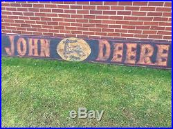 Early JOHN DEERE PLOWS Wooden Sign painted 10' Deer Tractor colors RARE
