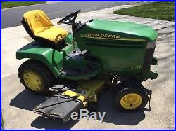JOHN DEERE 325 lawn mower tractor 48 inch deck snow plow blade tire chains cart