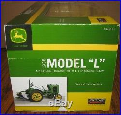 John Deere 1938 L UNSTYLED Tractor & L1 Integral Plow 1/16 Spec Cast Toy JDM239