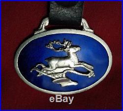 John Deere Blue Enamal Watch Fob Deer Jumping Over Plow 1910 -1940 Watch Fobs