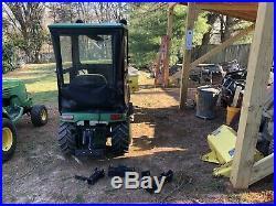 John Deere GX345 with Johnny Bucket Loader, Cab, Tiller, Sleeve Hitch, Plow