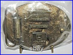 John Deere Hinton Present and Past Plow Tractor Belt Buckle Deer Trademark Logo