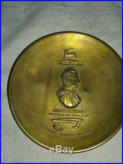 John Deere Leaping Deere Logo trademark Steel Plow Stamped Brass change tray