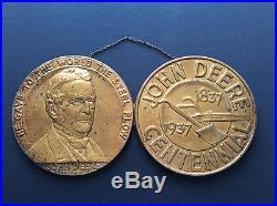 John Deere Plow Centennial 1837-1937 Copper Pennies Dealer Sign Advertisement