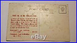 Very Rare 1915 M&m Praire Tractor, John Deere Plow Advertisng Postcard