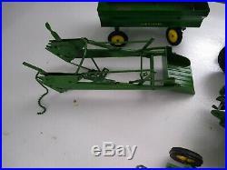 Vintage Ertl Eska 1/16 John Deere (Lot of 5 Toys) Plow, Loader, Tractor, Spreade