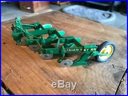 Vintage Ertl Eska John Deere 4 Bottom 3pt Mounted Plow Farm Toy In Box