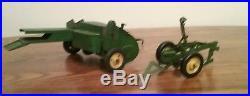 Vintage john deere plow and hay baler lot 1950's eska tractor toy antique